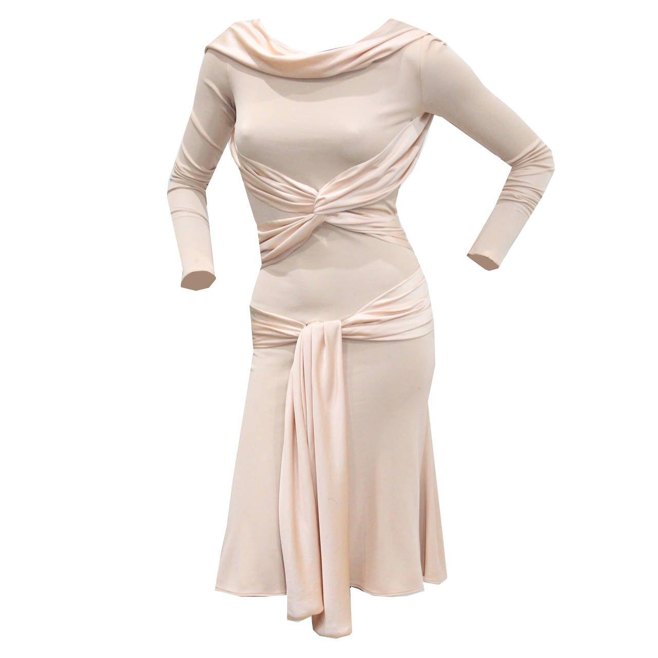 An Alexander McQueen oyster pink jersey Goddess gown