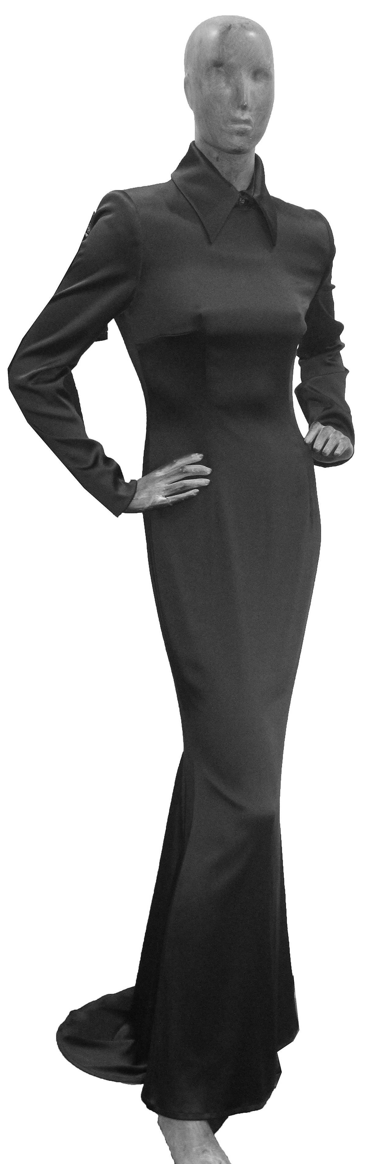 1990s Givenchy by Alexander McQueen Black Silk Evening Dress (Unworn) 2