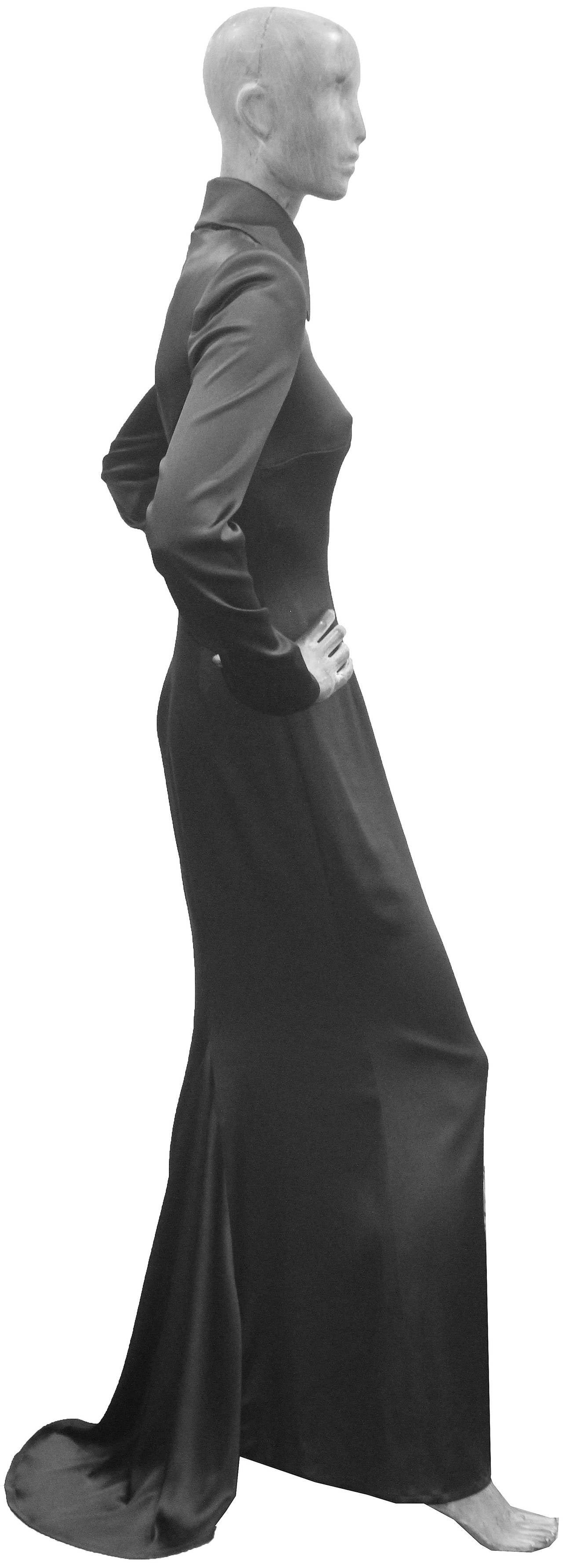 Gray 1990s Givenchy by Alexander McQueen Black Silk Evening Dress (Unworn) For Sale