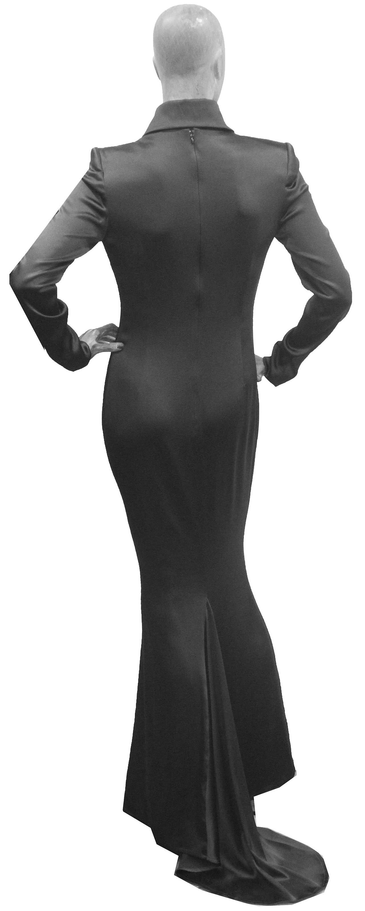 1990s Givenchy by Alexander McQueen Black Silk Evening Dress (Unworn) In New never worn Condition For Sale In London, GB