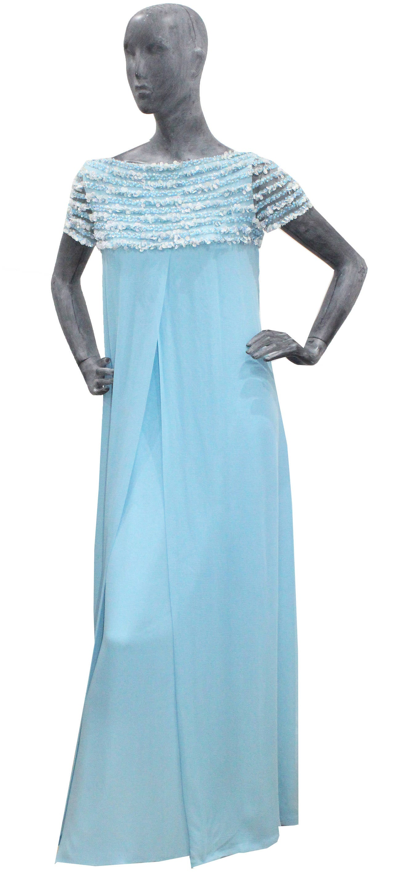 1960s haute couture embellished silk chiffon evening dress for 1960 s haute couture
