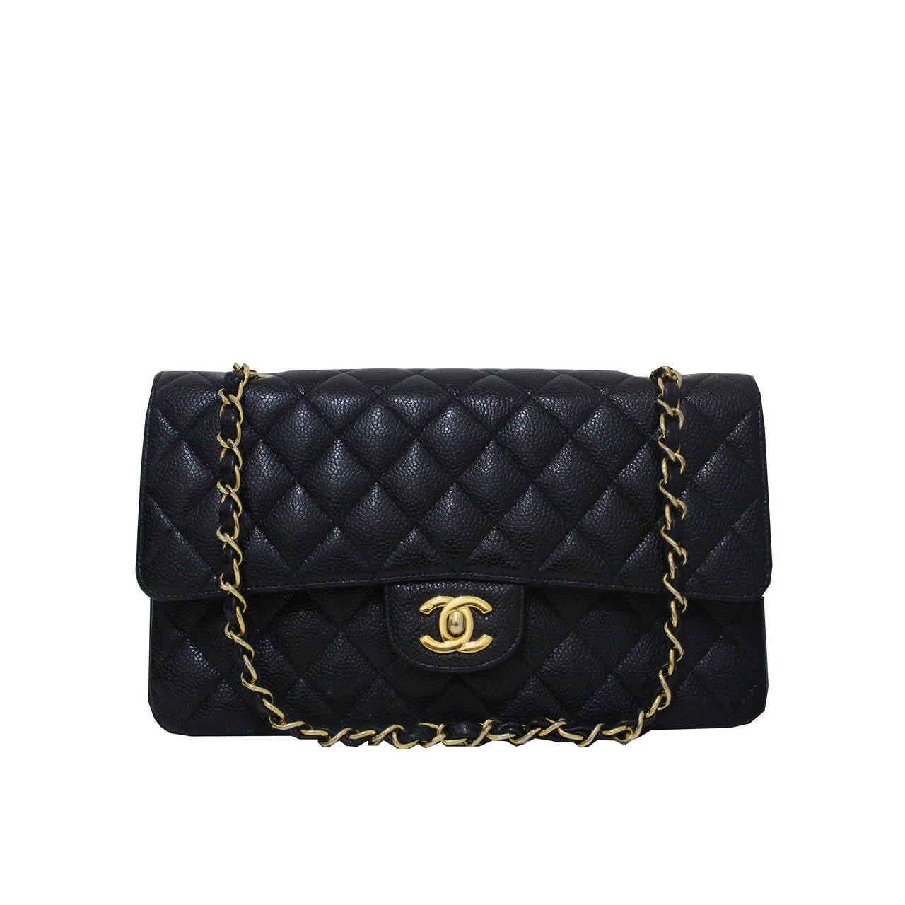 Chanel Black Quilted Caviar Classic Medium Double Flap Bag, Excellent Condition 1
