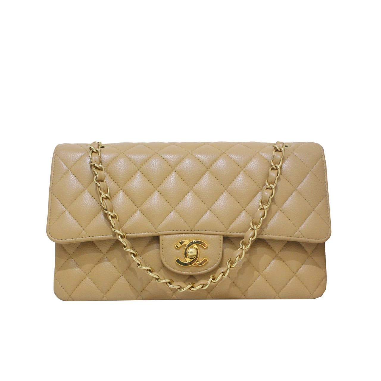 42efa8116f05 Chanel Nude Quilted Caviar Classic Medium Double Flap Bag, Excellent  Condition For Sale