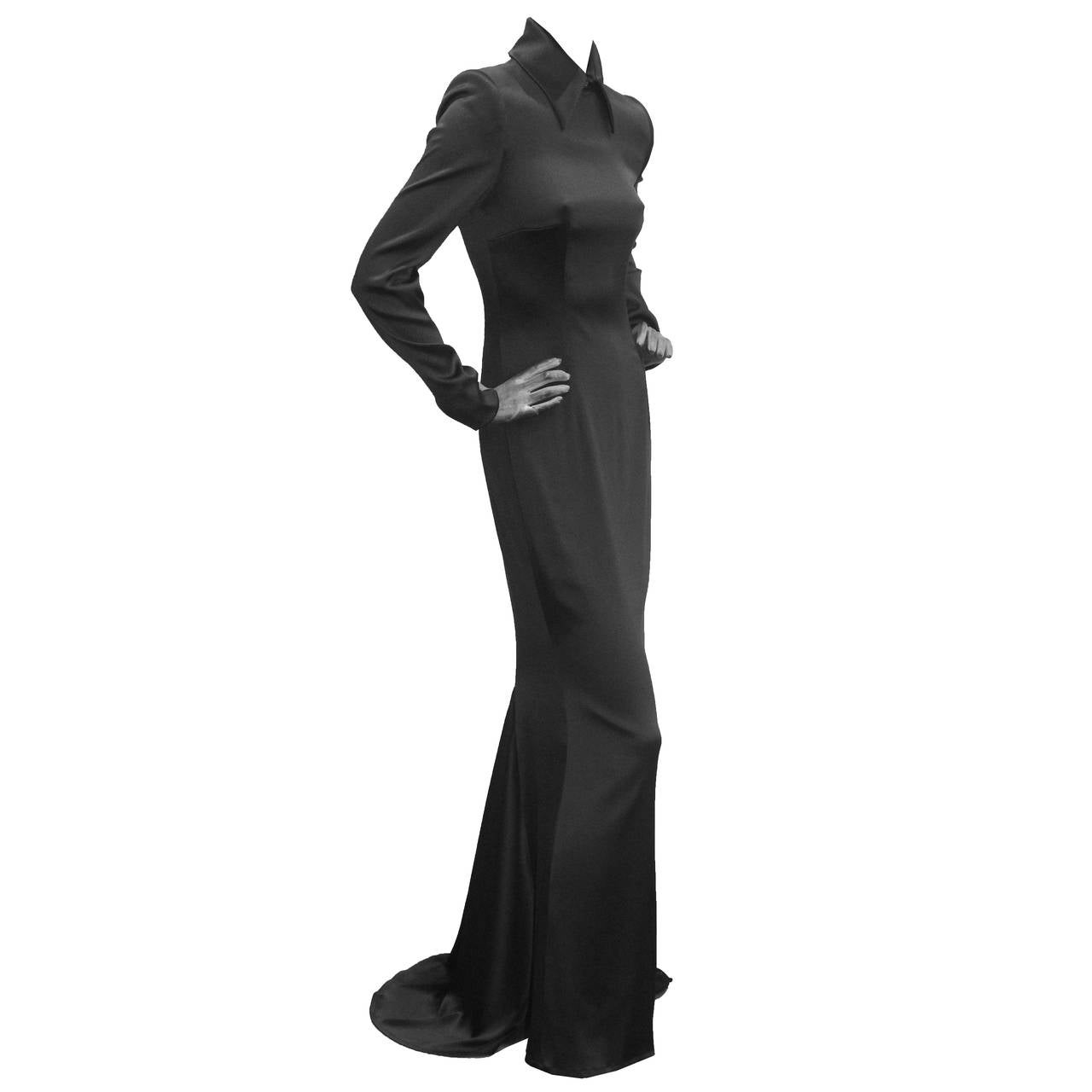 1990s Givenchy by Alexander McQueen Black Silk Evening Dress (Unworn) For Sale