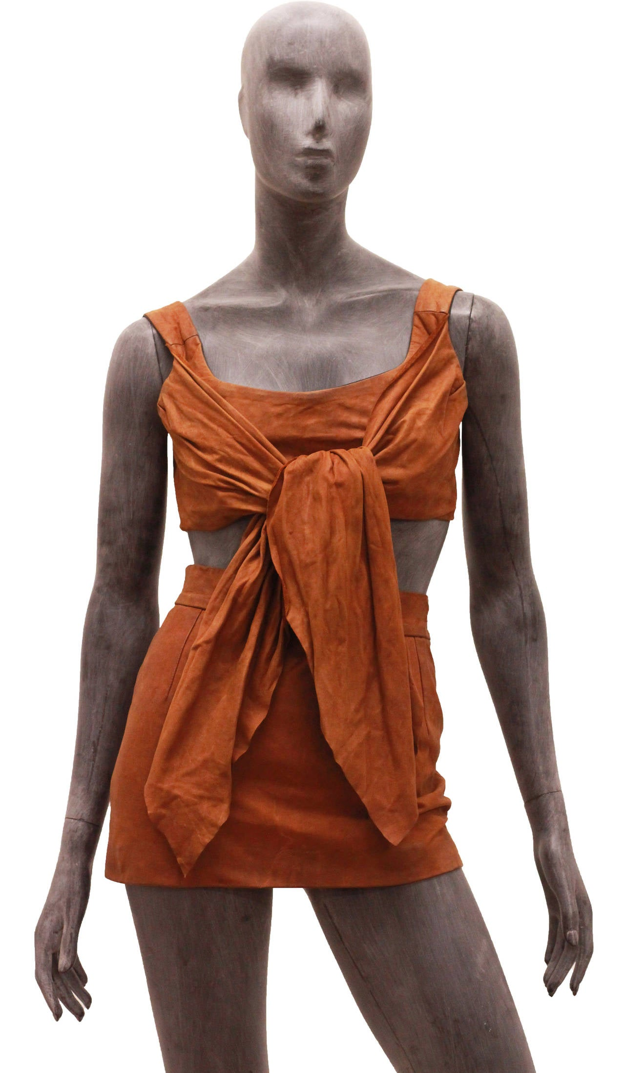 1980s Vivienne Westwood Leather Corset and Mini Skirt Ensemble 2