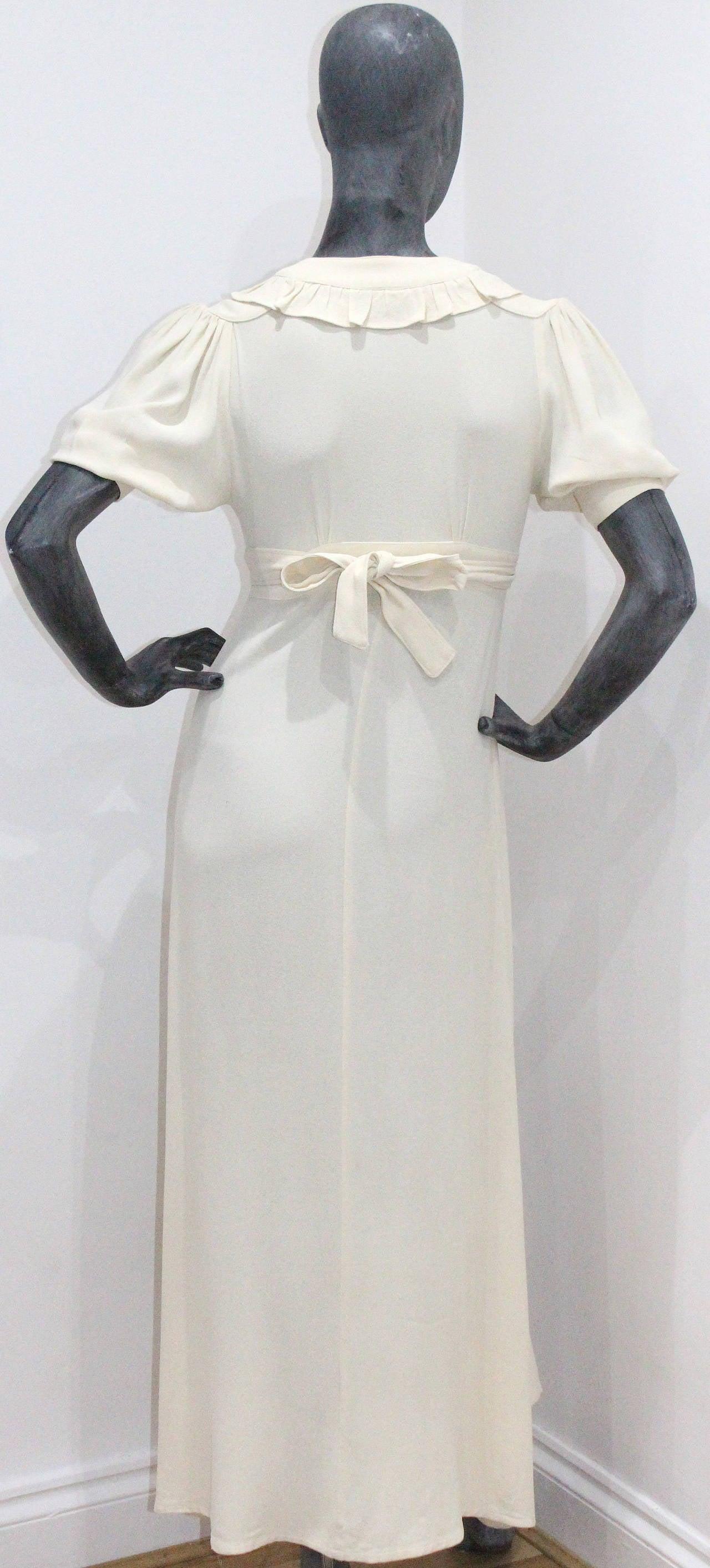 Women's 1970s Ossie Clark Ivory Moss Crepe Wrap Dress For Sale