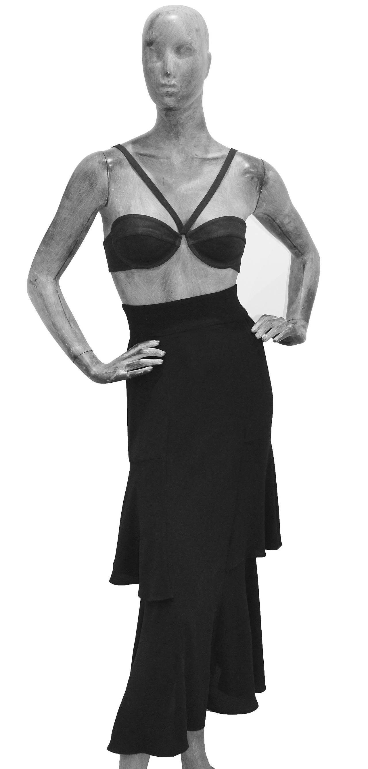 Ossie Clark High Waist Black Moss Crepe Skirt With Peplum Inserts c.1970 4