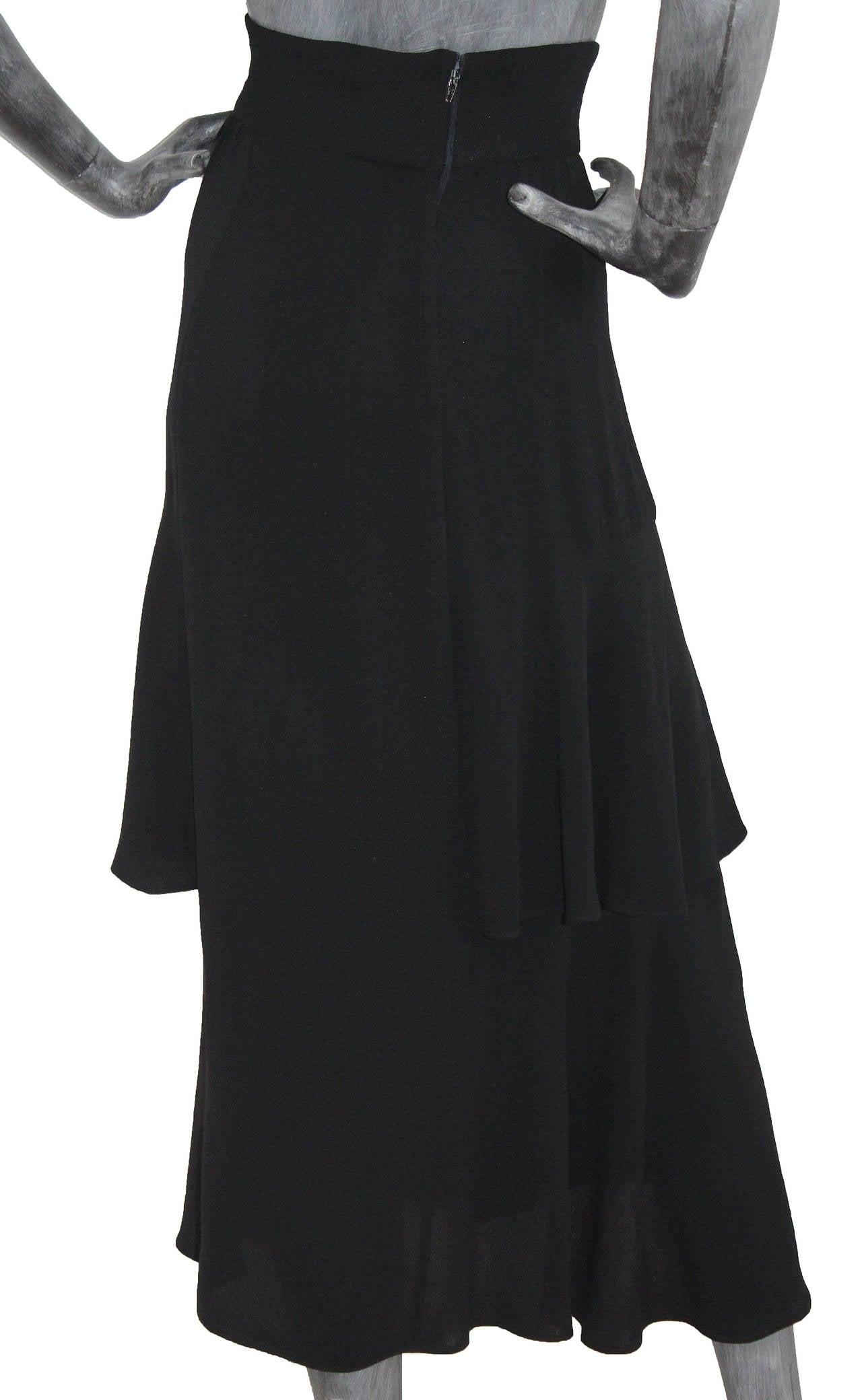 Ossie Clark High Waist Black Moss Crepe Skirt With Peplum Inserts c.1970 2