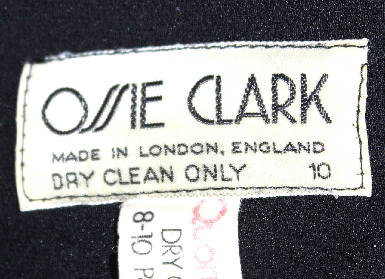 Ossie Clark High Waist Black Moss Crepe Skirt With Peplum Inserts c.1970 In Good Condition For Sale In London, GB