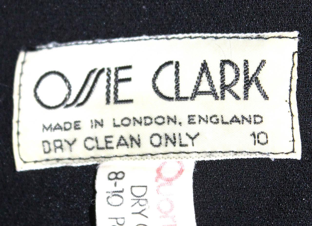 Ossie Clark High Waist Black Moss Crepe Skirt With Peplum Inserts c.1970 3
