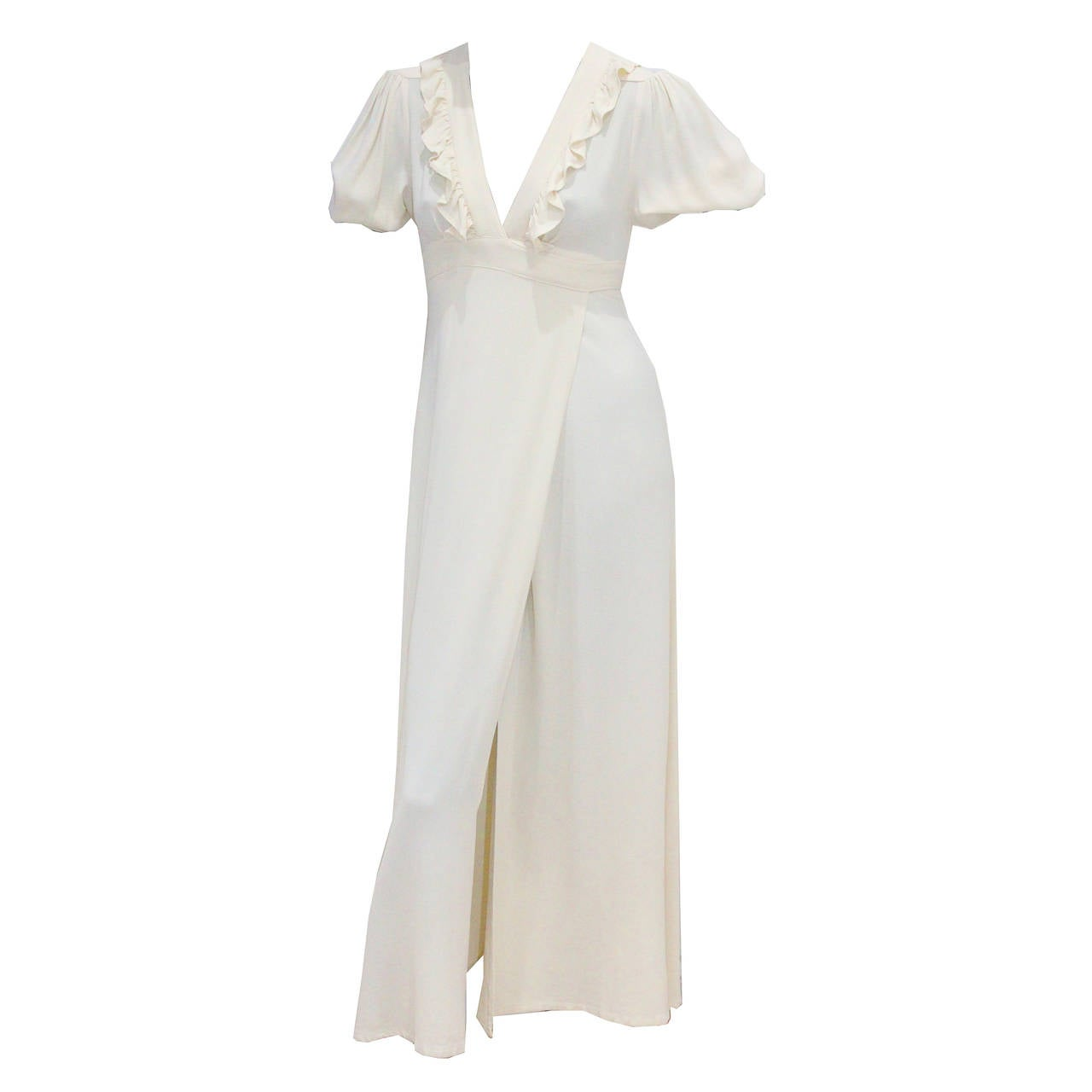 1970s Ossie Clark Ivory Moss Crepe Wrap Dress For Sale