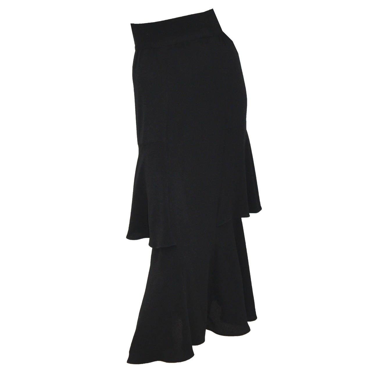 Ossie Clark High Waist Black Moss Crepe Skirt With Peplum Inserts c.1970 1