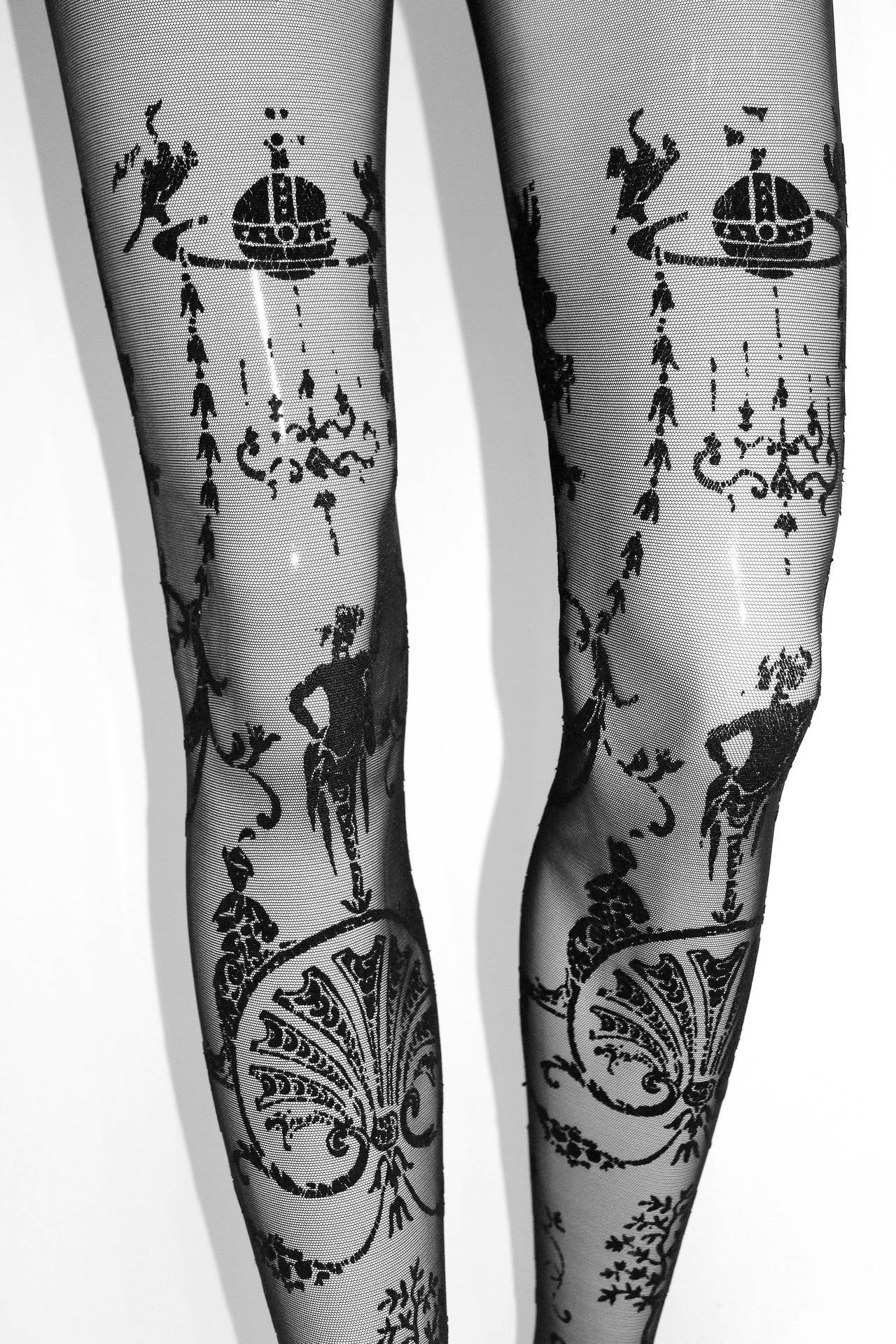 These sheer pantyhose are from the iconic Vivienne Westwood 'Portrait Collection' designed in 1990. They feature swirling rococo inspired print in black velvet. 