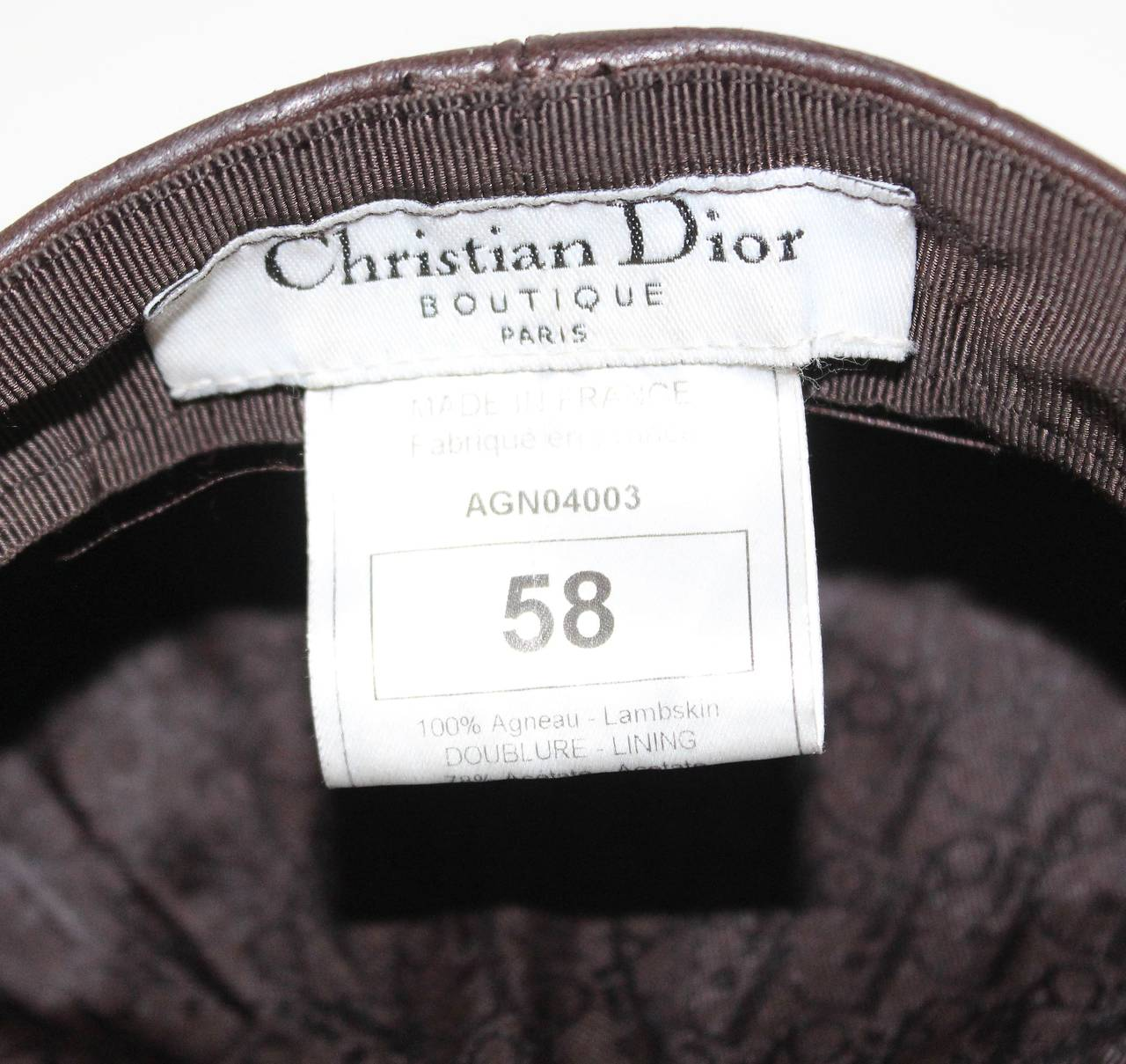 1990s Christian Dior Croc Embossed Leather Newsboy Hat 6