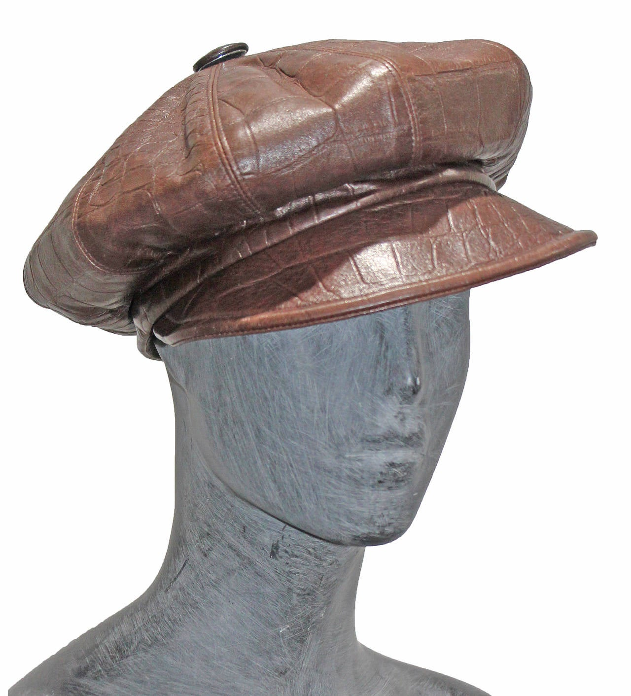 1990s Christian Dior Croc Embossed Leather Newsboy Hat 2