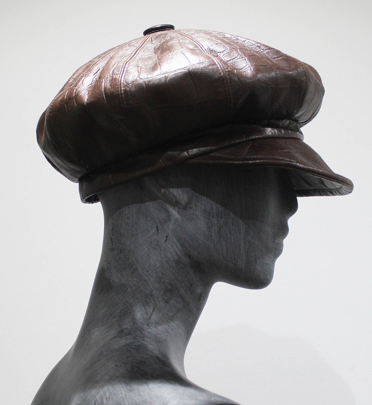 1990s Christian Dior Croc Embossed Leather Newsboy Hat 3