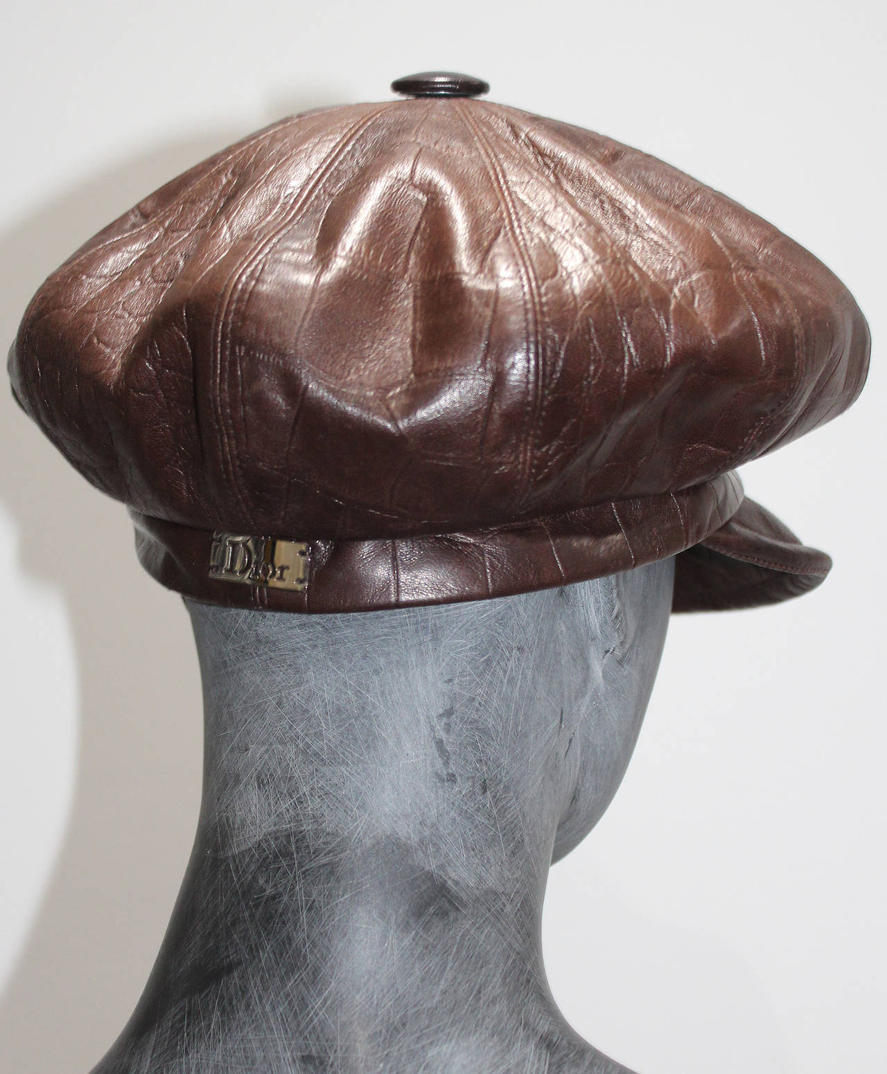 1990s Christian Dior Croc Embossed Leather Newsboy Hat 4