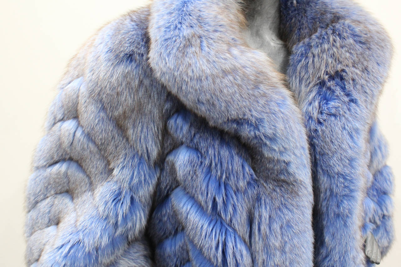 Exceptional 1980s Swiss Oversized Blue Fox Fur Coat 5
