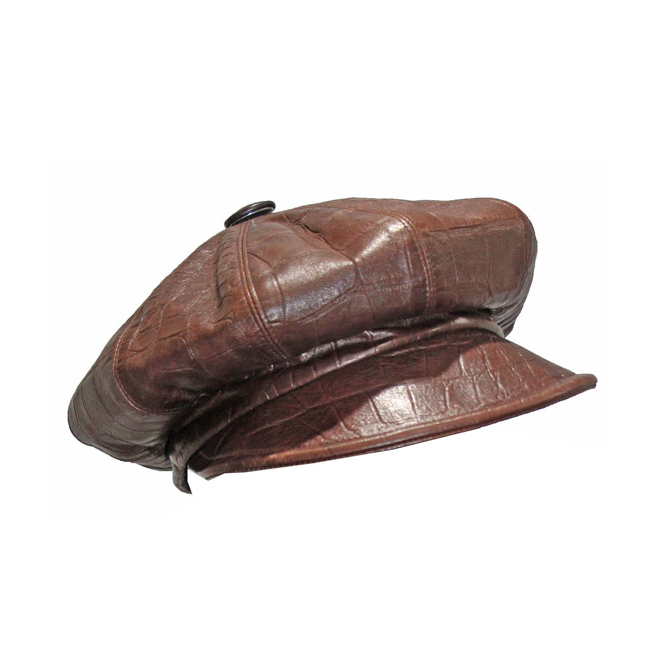1990s Christian Dior Croc Embossed Leather Newsboy Hat 1