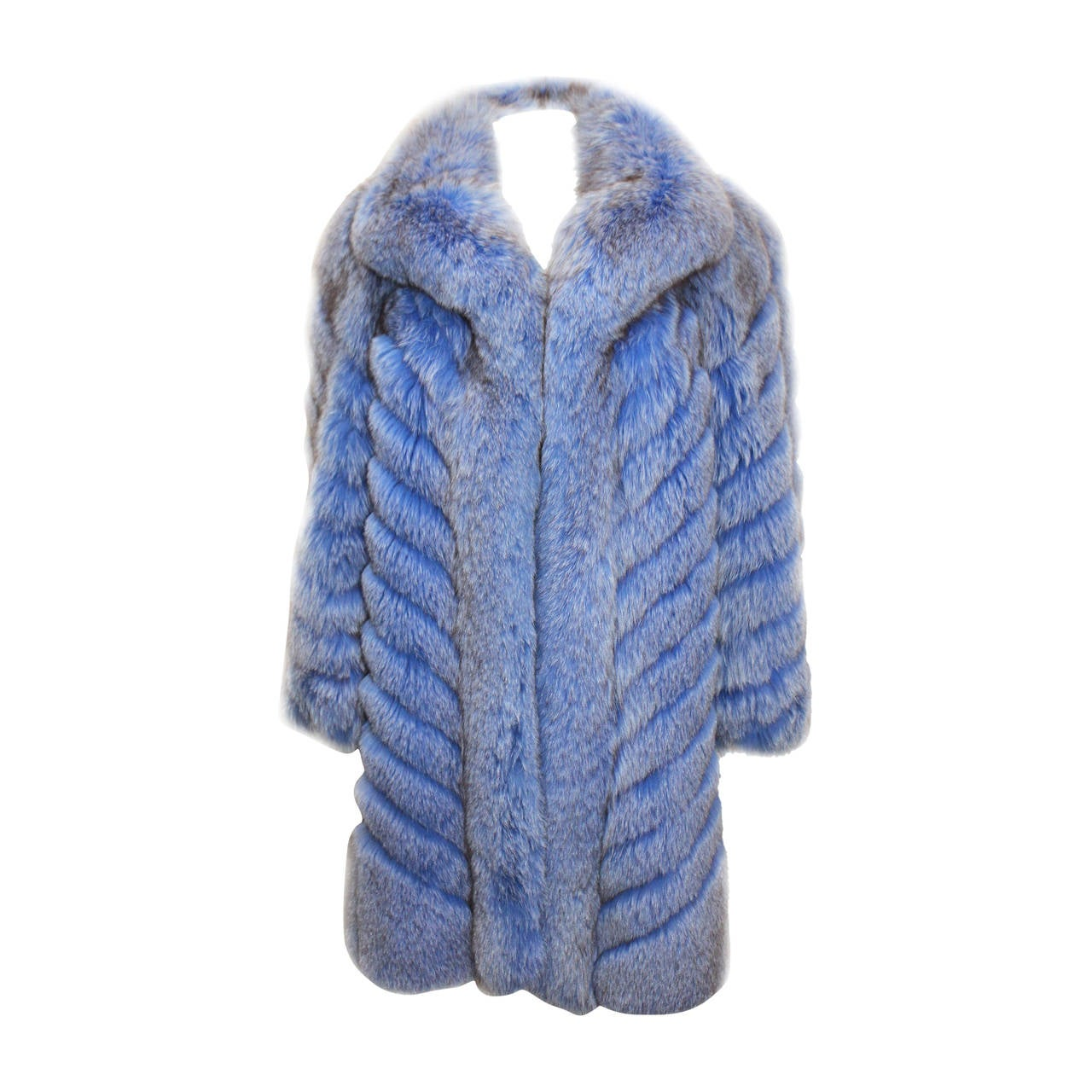 Exceptional 1980s Swiss Oversized Blue Fox Fur Coat 1