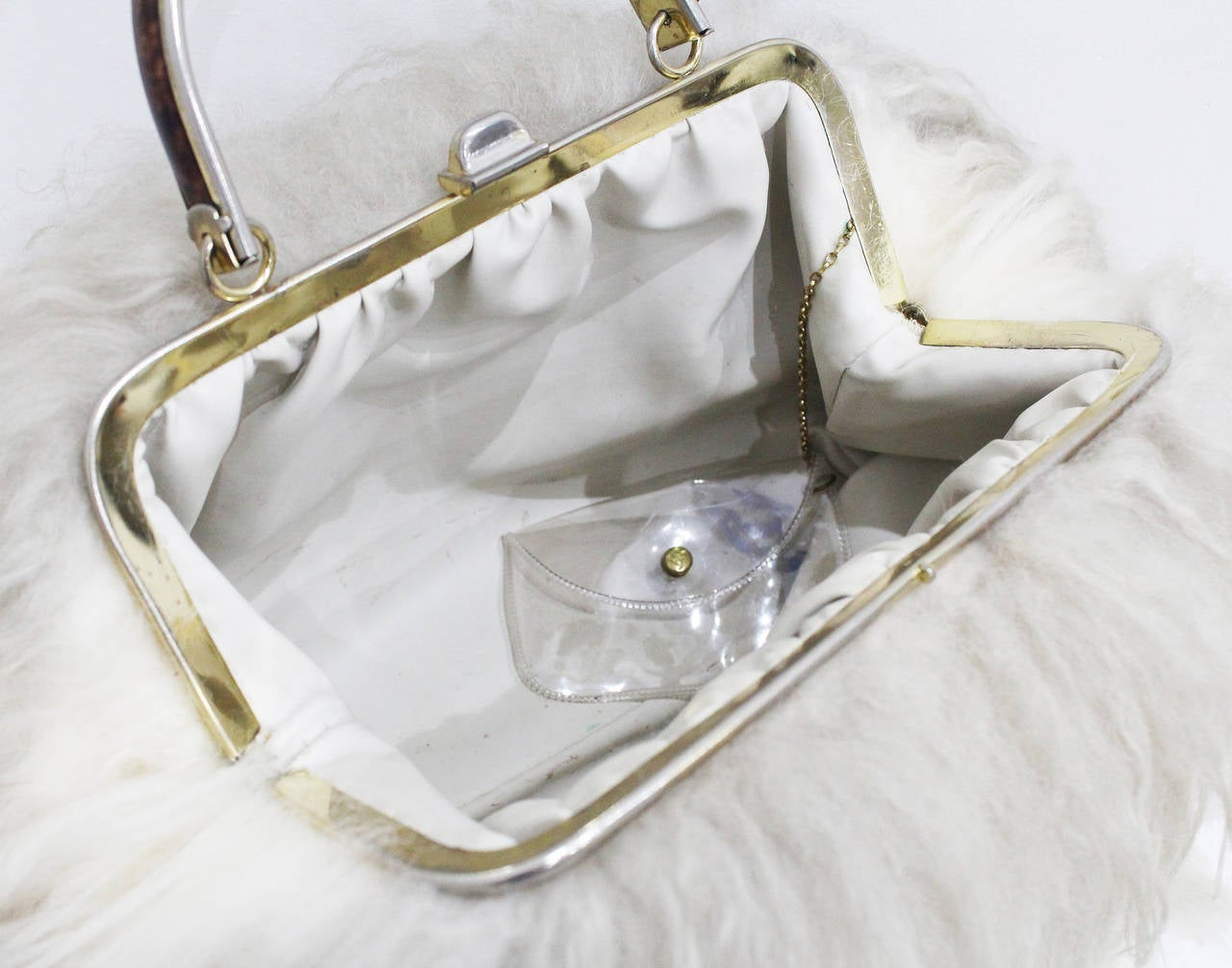 Women's Fine and Rare 1960s XL Mongolian Lamb Fur Purse Bag For Sale