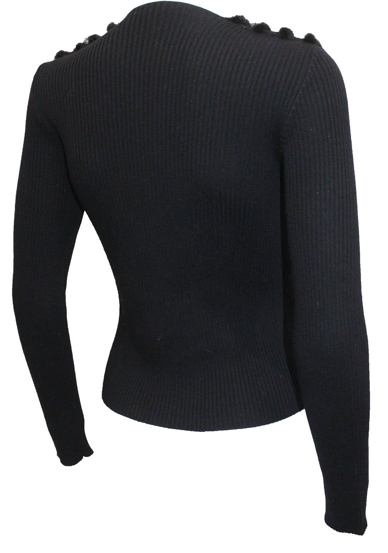 Black 1990s Prada Mink Fur Striped Sweater For Sale