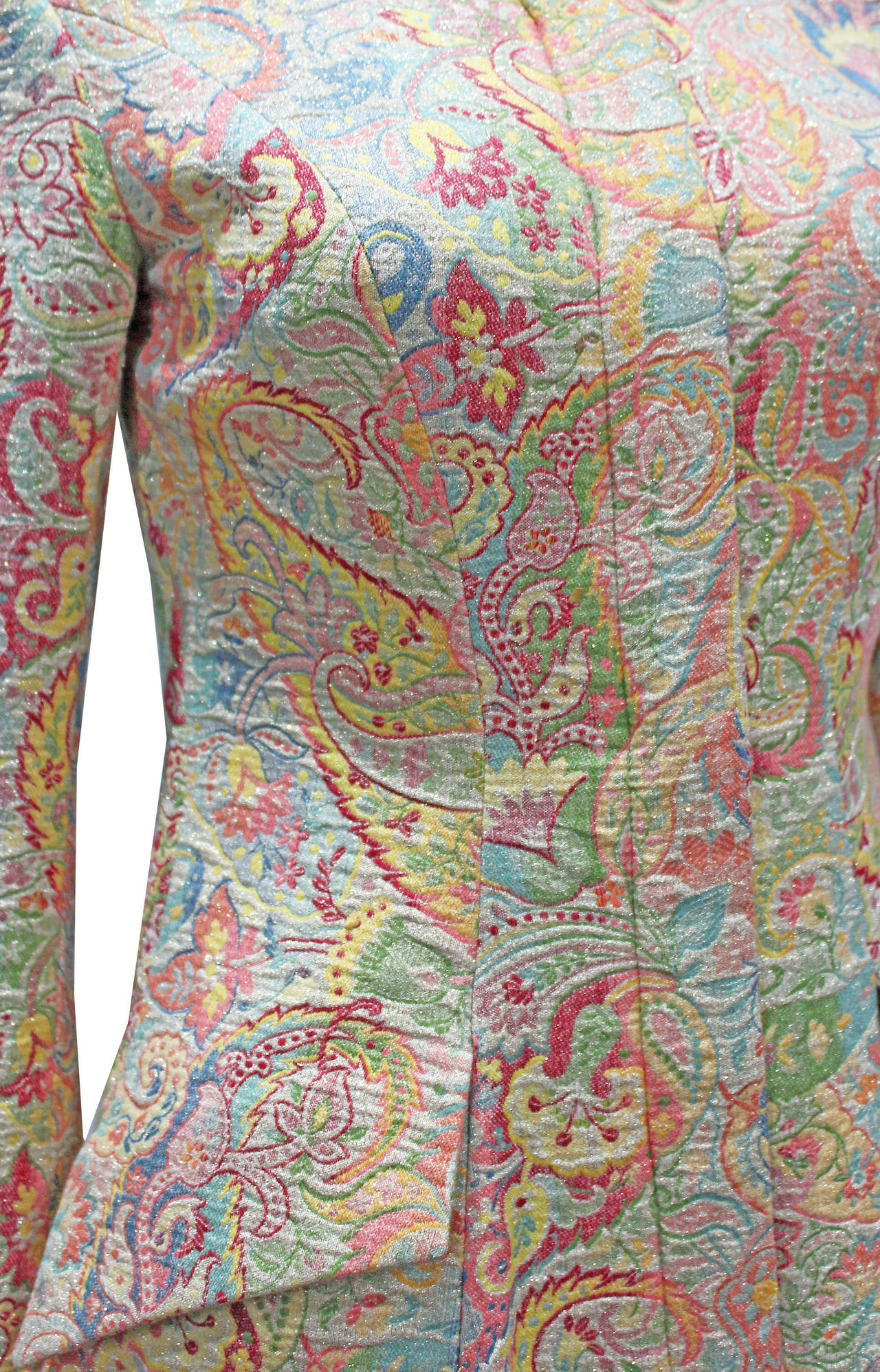 Exceptional British Silk Brocade Paisley Tailored Coat By