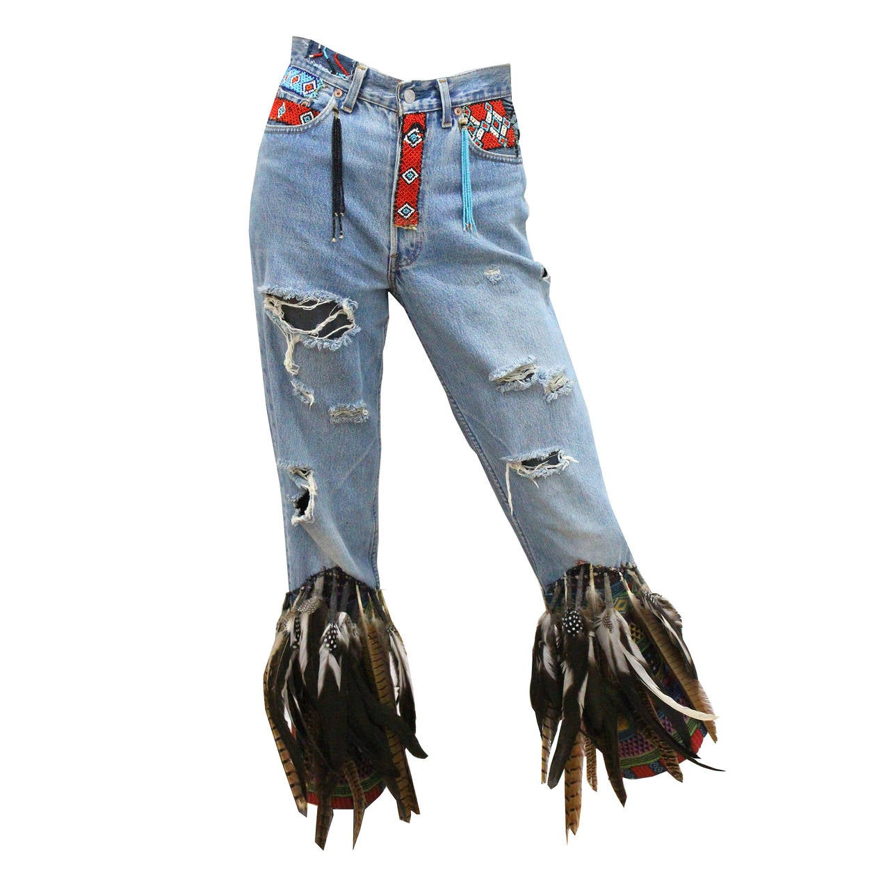 f4d3ec4fbc16 Iconic Tom Ford for Gucci Spring Summer 1999 feather denim jeans For Sale