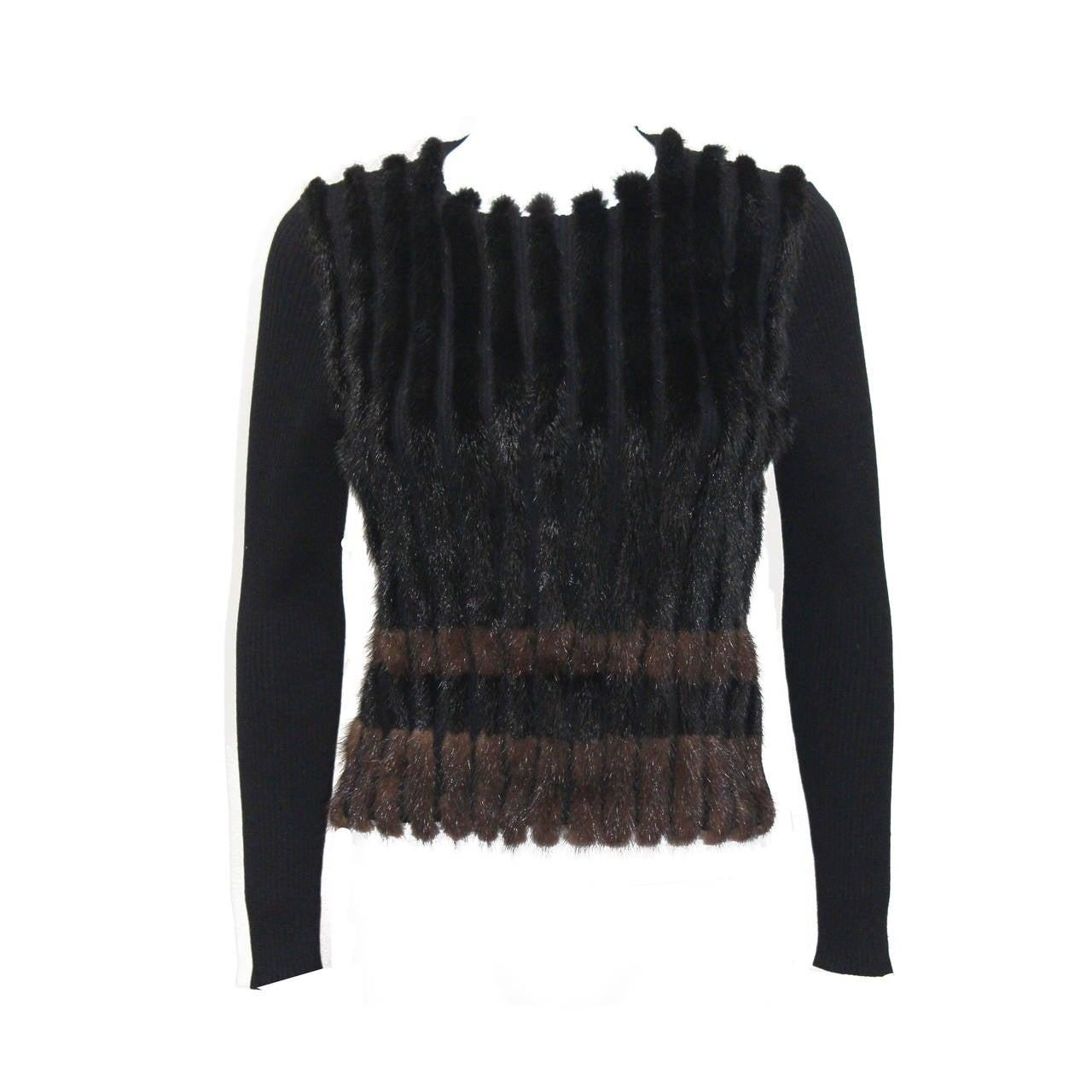 1990s Prada Mink Fur Striped Sweater For Sale