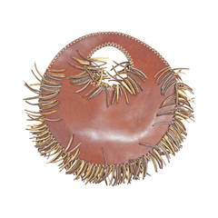 1990s Couture wood and leather circular handbag by Denise Razzouk