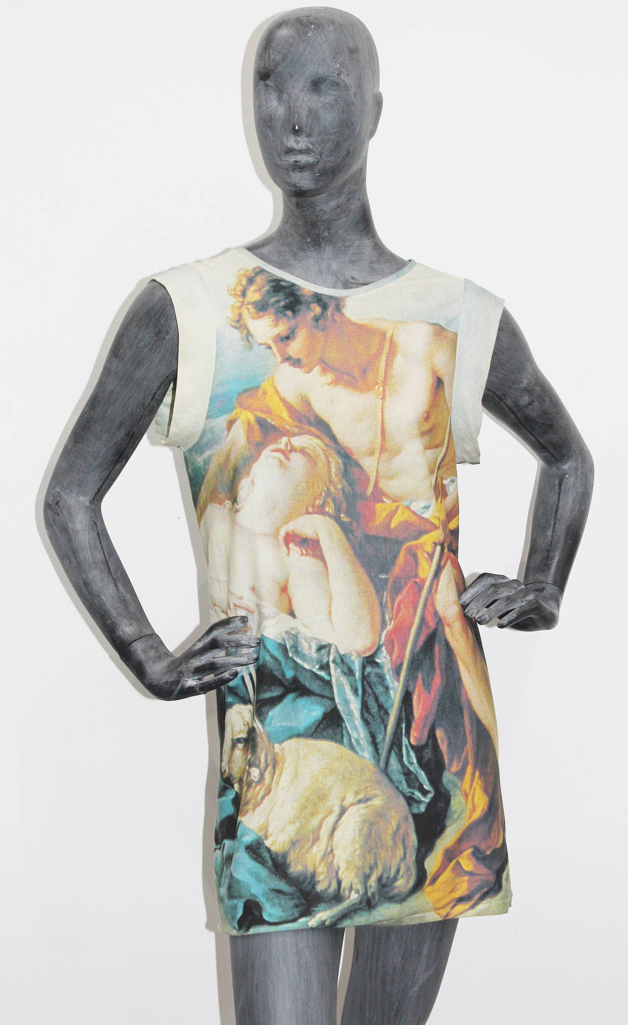A fine and rare jersey mini dress with a Boucher painting print from the iconic 'Portrait' collection in 1990. 
