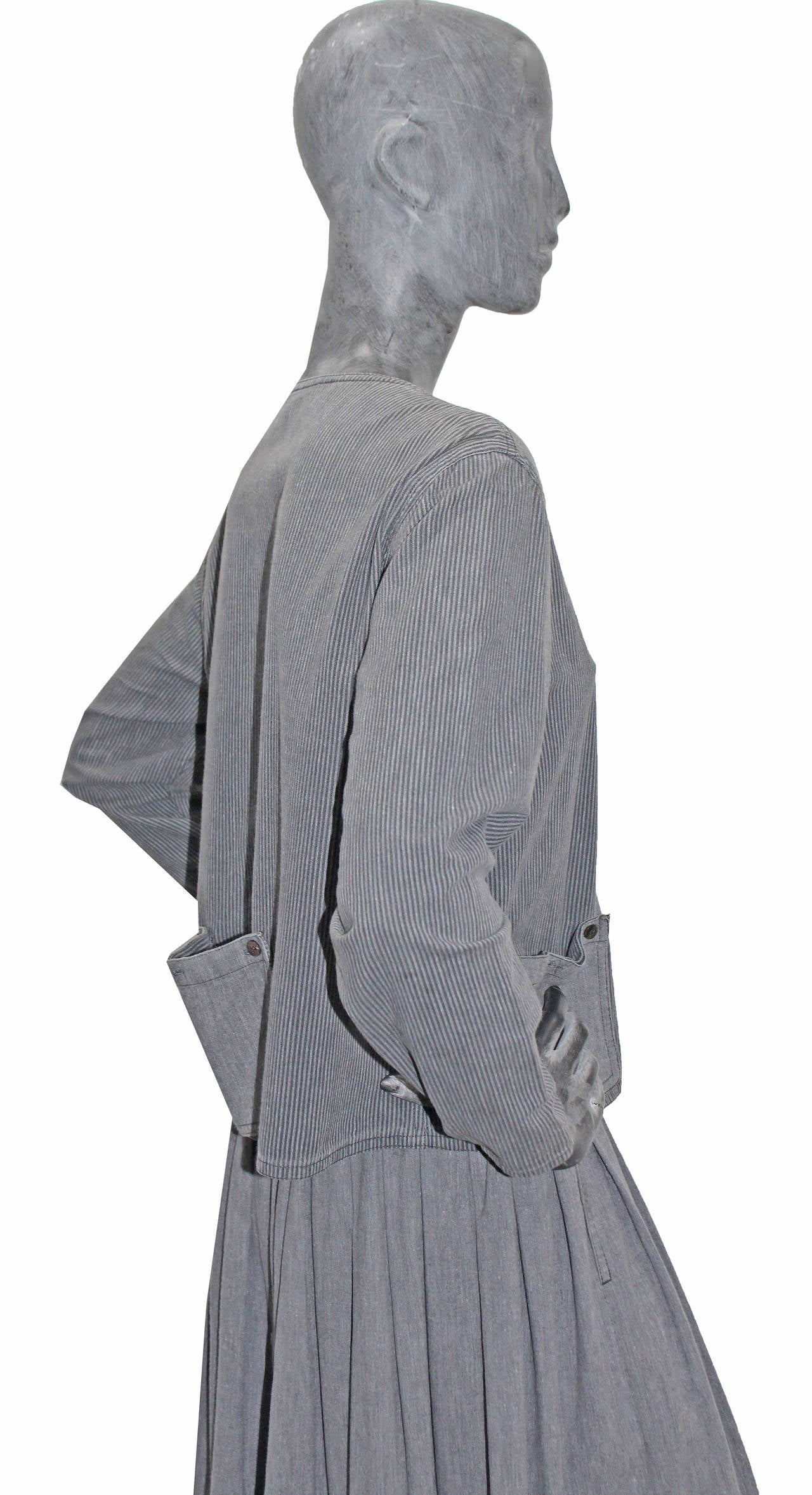Gray Early Issey Miyake Sport Cotton Skirt Suit c. 1970s For Sale