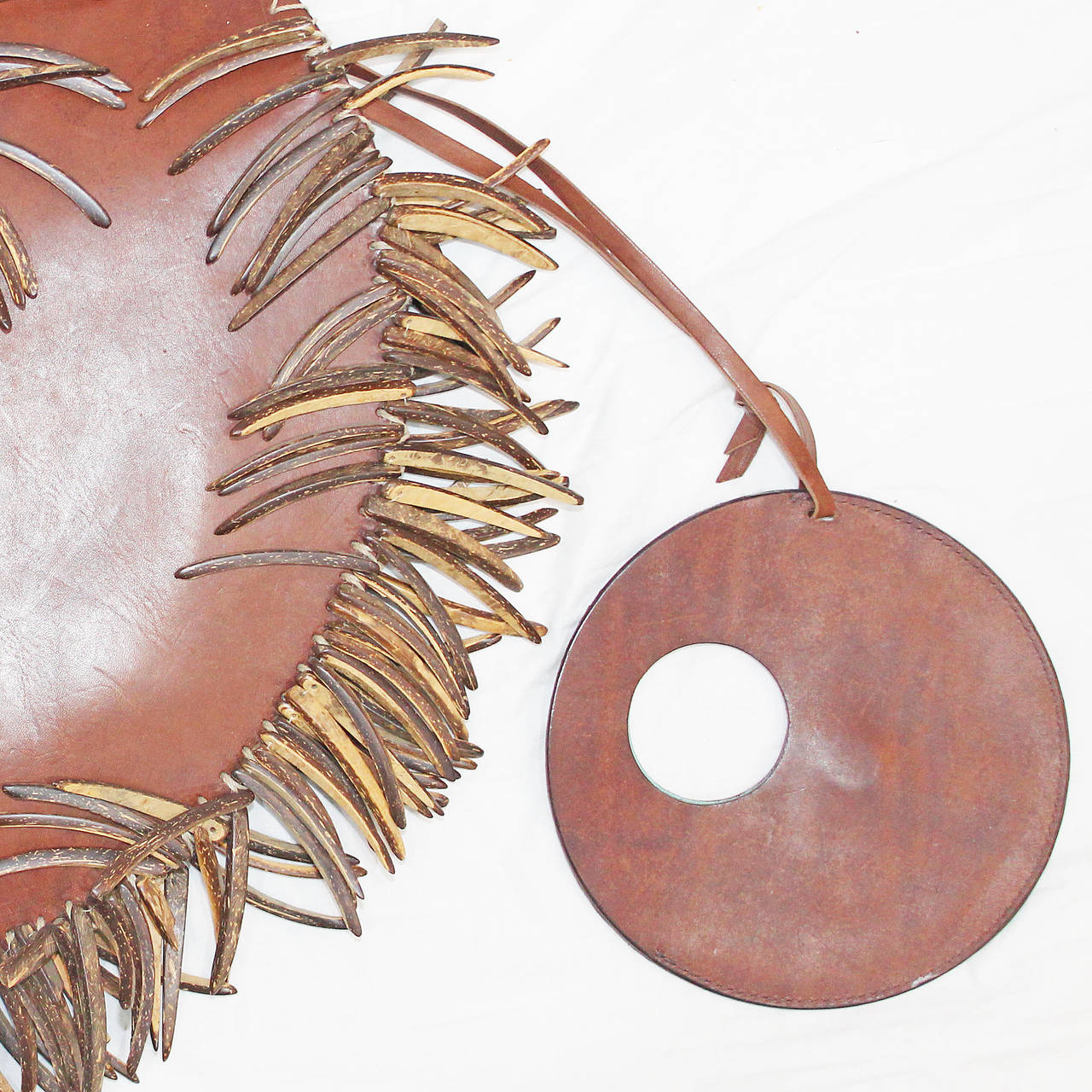 1990s Couture wood and leather circular handbag by Denise Razzouk 3