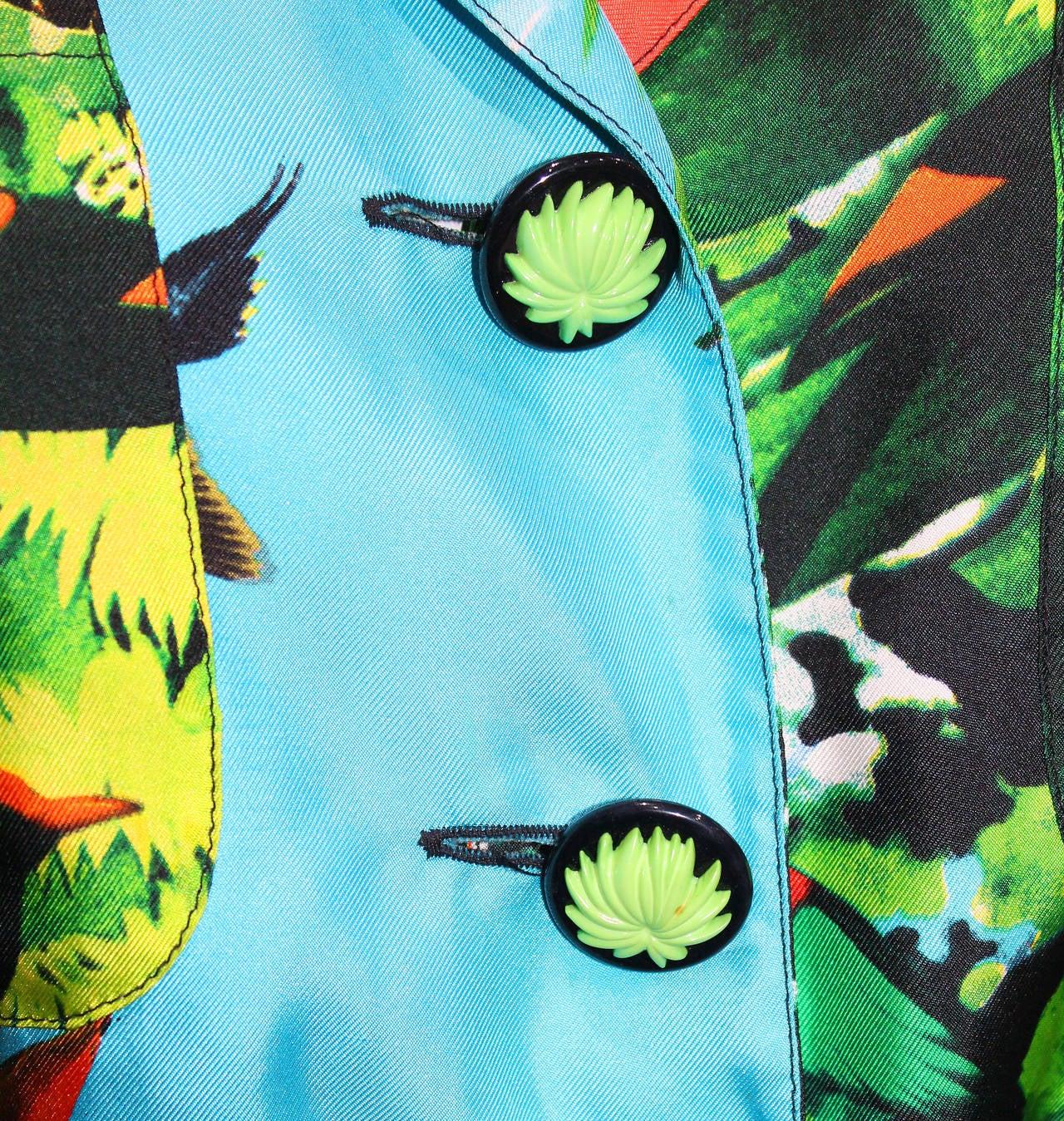 1980s Louis Feraud tropical print silk shirt dress 3