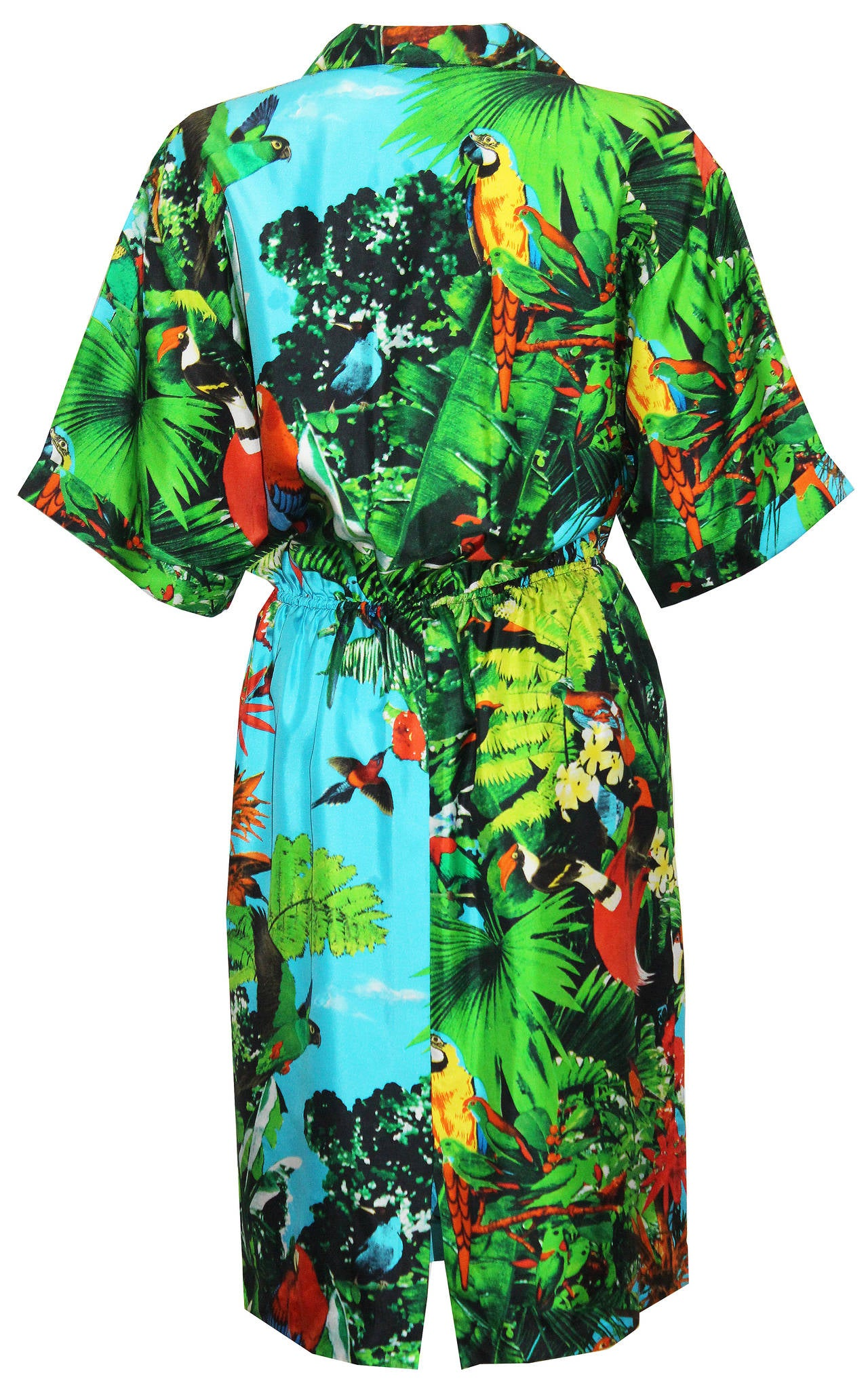 1980s Louis Feraud tropical print silk shirt dress 2