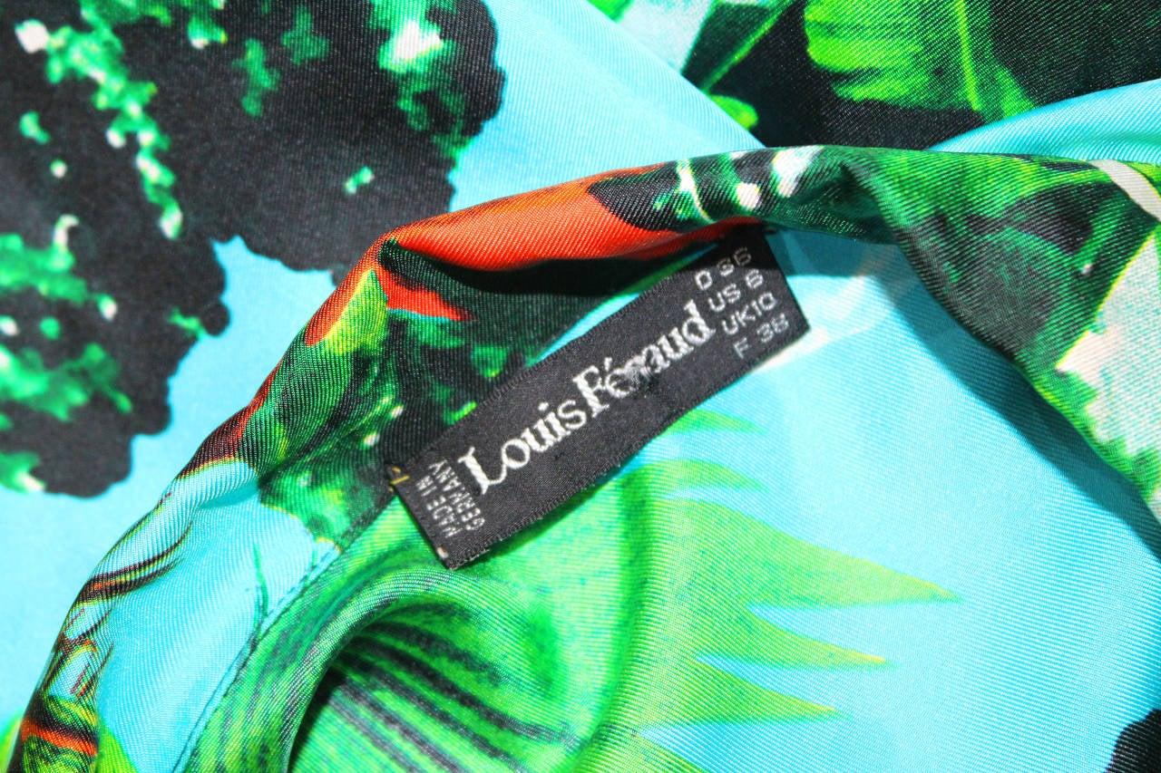 1980s Louis Feraud tropical print silk shirt dress 5