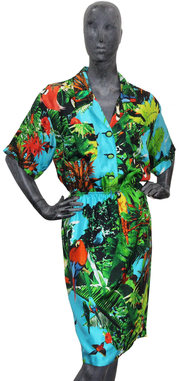 1980s Louis Feraud tropical print silk shirt dress 4