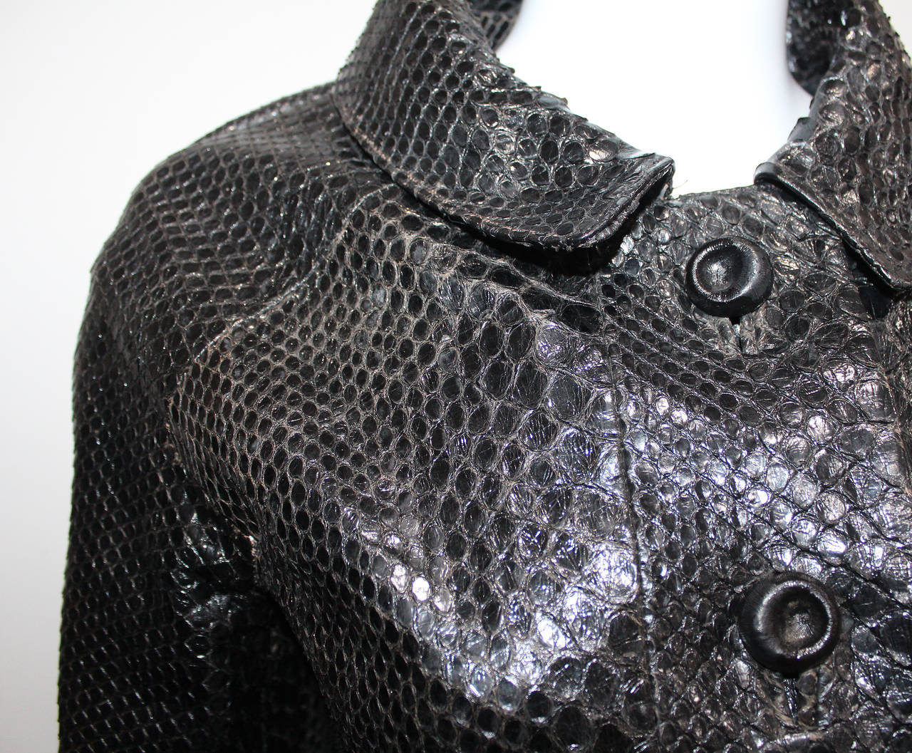 Original 1960s Black Python Coat With Cut Out For Sale At