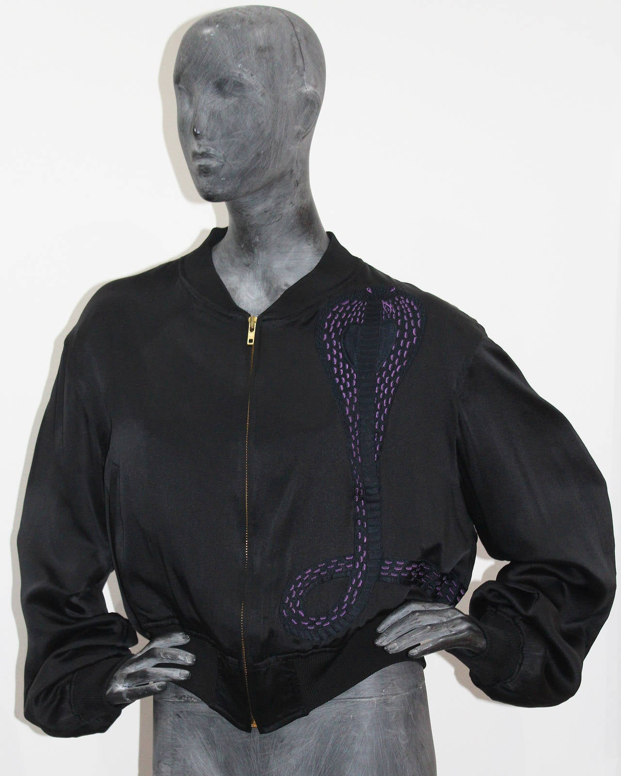 1990s Unisex Yohji Yamamoto Silk Bomber Jacket With Embroidered Cobra In Excellent Condition For Sale In London, GB