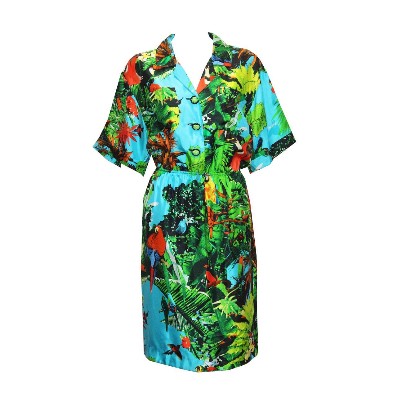 1980s Louis Feraud tropical print silk shirt dress 1