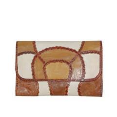 1970s Carlos Falchi patchwork reptile clutch