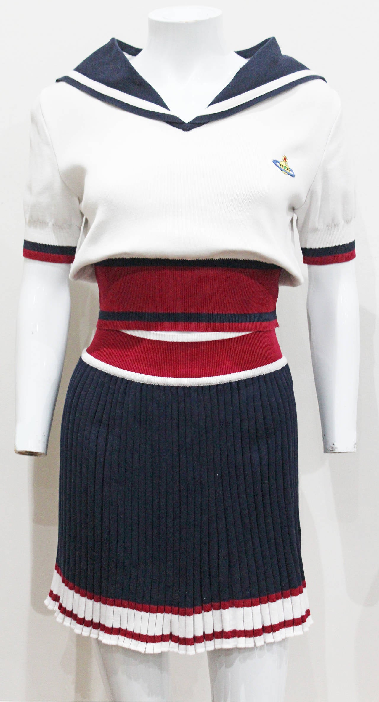 Women's Vivienne Westwood nautical inspired 2 piece skirt suit, Spring/Summer 1995 For Sale