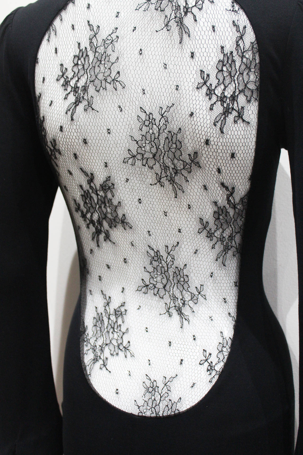 Black Alexander McQueen 'Hitchcock' Runway Lace Back Dress, F/W 2005 For Sale