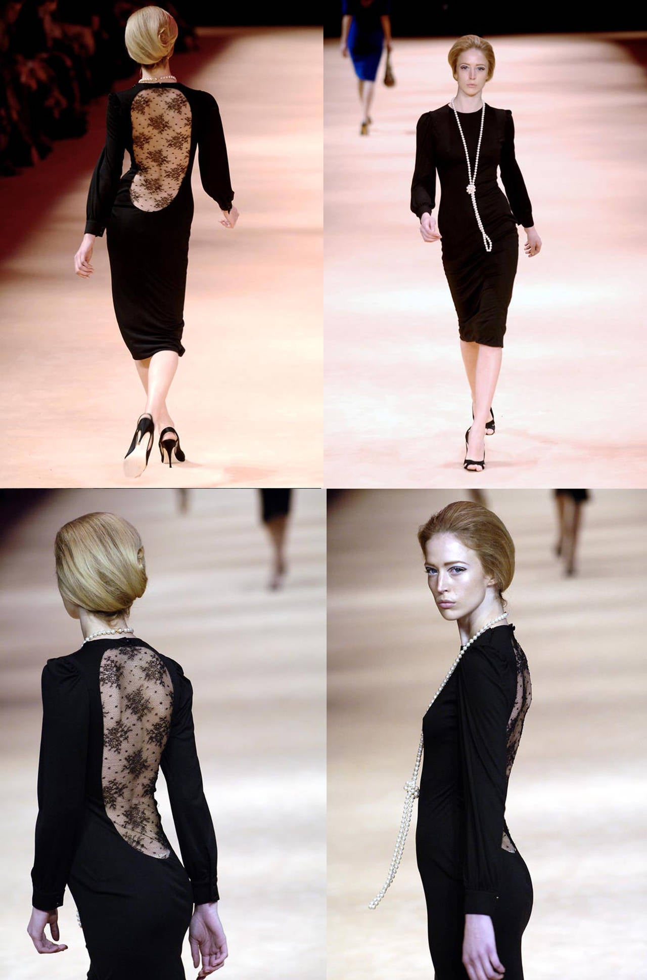 An exceptional evening dress by Alexander McQueen. The dress is made of a black high quality jersey and features a low cut open lace back and bishop sleeves. 