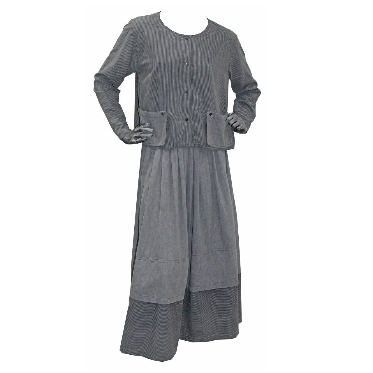 Early Issey Miyake Sport Cotton Skirt Suit c. 1970s For Sale