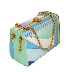 Rare1960s Emilio Pucci Silk Hard Case Bag With Signature Print