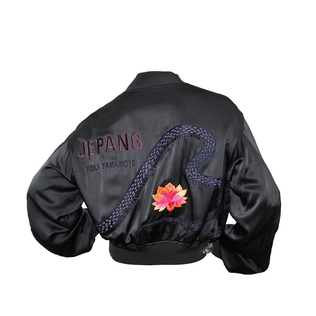 1990s Unisex Yohji Yamamoto Silk Bomber Jacket With Embroidered Cobra For Sale