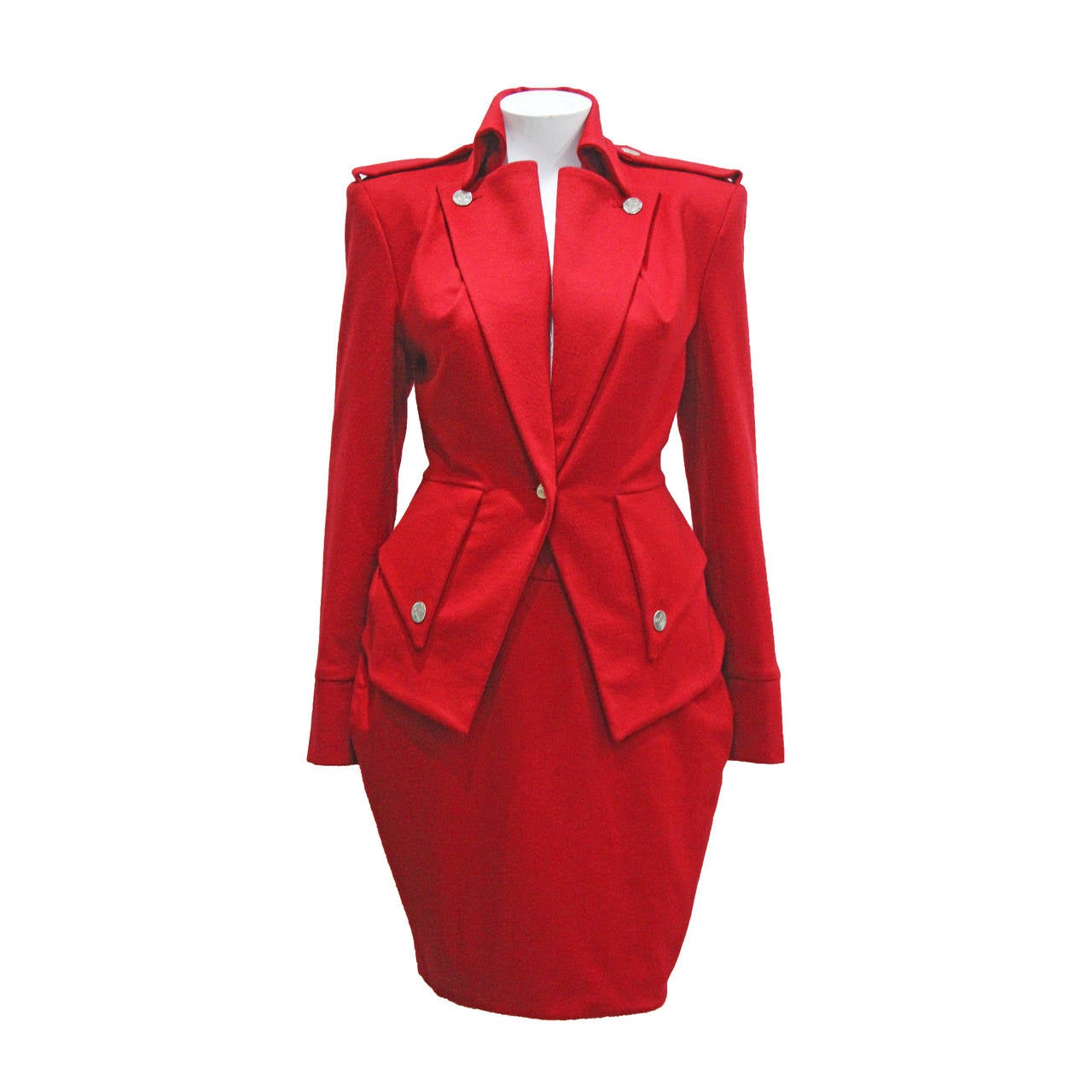1990s Vivienne Westwood Hour Glass 2 Piece Red Skirt Suit For Sale ...