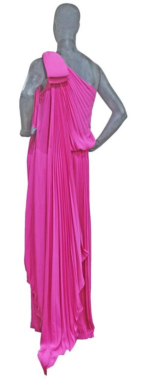 Purple Exceptional Pierre Cardin Hot Pink Pleated Silk Evening Dress c. 1977 For Sale