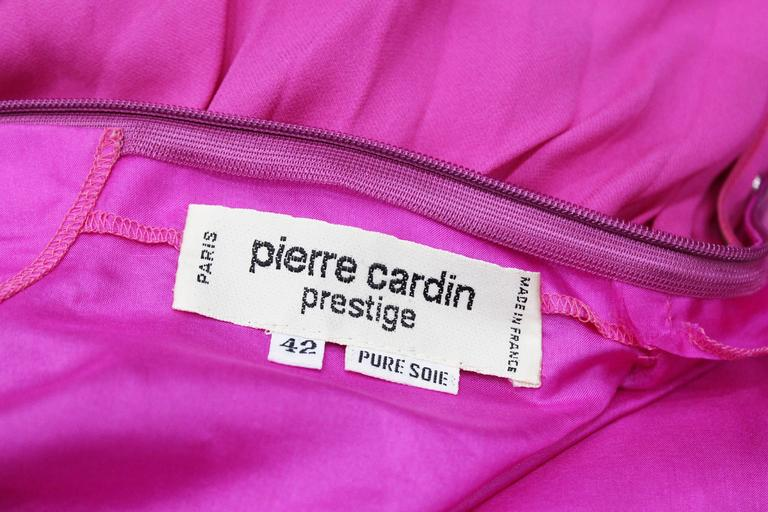 Women's Exceptional Pierre Cardin Hot Pink Pleated Silk Evening Dress c. 1977 For Sale